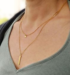 Dainty double gold chain necklace, gold layering necklace, brass charm necklace, gift for her. Hair Jewelry, Jewelry Shop, Unique Jewelry, Multi Layer Necklace, Minimalist Jewelry, Gold Chains, Jewelery, Gifts For Her, Gold Necklace