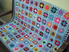 Crochet Blanket Large Blue GRANNY SQUARES Afghan by Thesunroomuk, £135.00