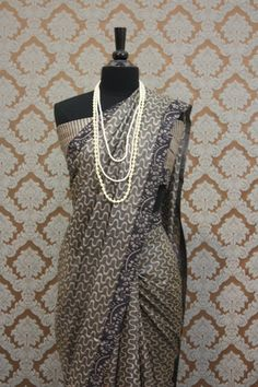 Grey & Orange Block Print Silk Saree