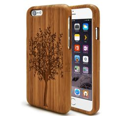 Bamboo Hard Case Wood Protective  Luxury Handmade Design] Real Natural Wood Wooden Bamboo Cover for iPhone 5 5s 6 4.7'  6 Plus 5.5'