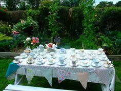 Garden Marie Antoinette or Alice in Wonderland tea party wedding:: pick your own cup!