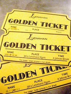 """Personalized Homemade Golden Tickets to help with Behavior Management for a Willy Wonka obsessed student. This student """"shuts down"""" frequently.  Instead of shutting down now, he gets to use a ticket at anytime during his day for an immediate 5 minutes break.  We went from shutting down 10+ times in a day, sometimes 30 minutes and longer. To zero shut downs.... Phew."""