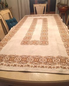 Vintage Tablecloth. Perfect for Thanksgiving!  Austrian Vintage Linen Bordered Table Cloth 50s by MarveltyVintage
