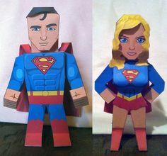 free pdf-Superman and Supergirl Paper Toys | Tektonten Papercraft