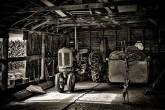 Inside the storage shed.