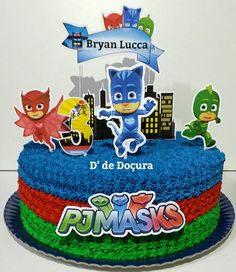 4th Birthday Parties, Boy Birthday, Pj Masks Birthday Cake, Sheet Cake Designs, Festa Pj Masks, Paper Cake, Mask Party, Lucca, Halloween Kids