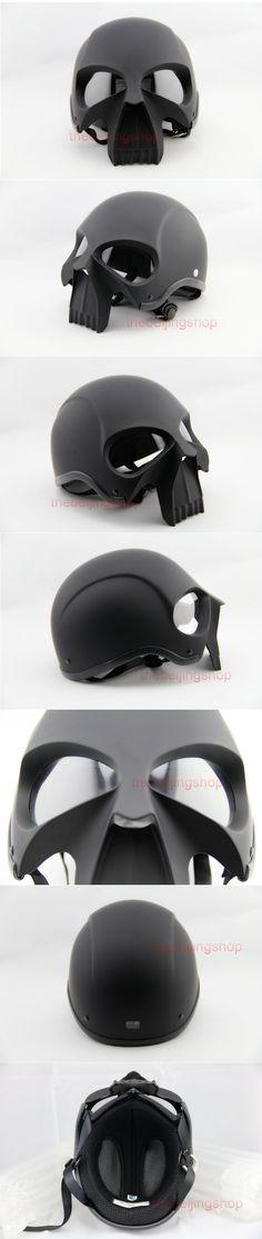 AZ Matte Black Skull Skeleton Summer on road Motorcycle Helmet punisher