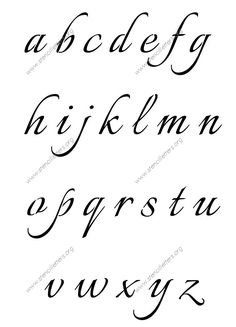 Connected Calligraphy A to Z lowercase letter stencils