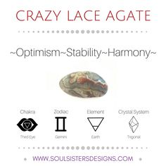 Metaphysical Healing Properties of Crazy Lace Agate, including associated Chakra, Zodiac and Element, along with Crystal System/Lattice to assist you in setting up a Crystal Grid. Go to https://www.soulsistersdesigns.com/crazy-lace-agate to learn more!