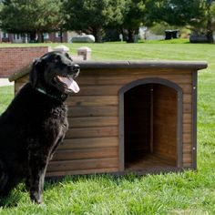 Boomer & George Log Cabin Dog House with Heater & 2 FREE Bowls
