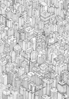 Axonometric aerial view of a city
