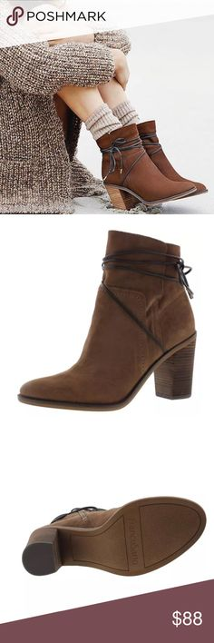 """franco sarto • wrapping ankle tie booties Franco Sarto  """"Pairing perfectly with everything from skirts & dresses to jeans, a wrapping ankle tie adds chic elegance to the block heel styling of the """"Edaline"""" ankle boots. Color is called """"Tobacco Leather."""" Pull on with side zip closure. Block heel that is approx 3.75"""" tall. Leather/manmade material. Shaft height approx 7"""", shaft width approx 10""""  size: 9.5 condition: new with box FS0802458 Franco Sarto Shoes Ankle Boots & Booties"""