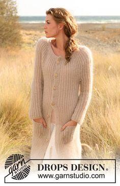"Knitted DROPS jacket in English rib in 2 strands ""Kid-Silk"". Size: XS - XXXL. ~ DROPS Design"