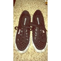 Superga black studded sneakers Never worn supposed to look worn and scuffed for an edgy look Superga Shoes Sneakers