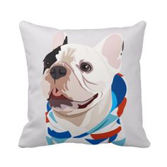 "Manny Squishy Face Throw Pillow 15""x15"" - Manny the Frenchie"