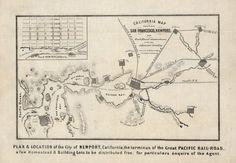 California Map Showing San Francisco, Newport (1868)