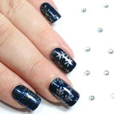 Navy & Blue Holographic Snowflakes - Short Square False Nails
