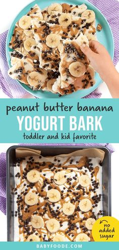 Your kids are going to love you so much when you serve up this  Peanut Butter Banana Frozen Bark! Super quick and easy to make, this frozen bark is perfect to serve as a summer snack, dessert, or even for a special breakfast! #frozenbark #yogurt #toddler #kids #snack Banana Recipes For Kids, Frozen Banana Recipes, Banana Snacks, Banana Dessert, Baby Food Recipes, Snack Recipes, Kitchen Recipes, Cooking Recipes, Peanut Butter Snacks