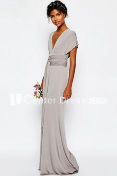 Sheath V-Neck Sash Floor-Length Short-Sleeve Chiffon Bridesmaid Dress - Bridesmaid dresses Bridesmaid Dresses Online, Mob Dresses, Fashion Dresses, Formal Dresses, Fall Dresses, Wedding Dresses, Elegant Dresses, Beautiful Dresses, Robes Glamour