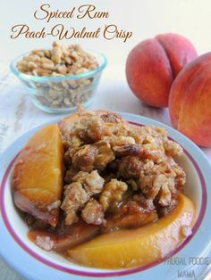 Spiced Rum Peach-Walnut Crisp- sweet, juicy peaches are combined with cinnamon and cardamom. And for good measure, a little spiced rum. Then topped off with a crunchy oat topping brimming with big pieces of California walnuts.