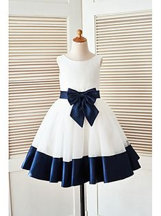 Ivory Satin Tulle Flower Girl Dress with Navy Blue Belt Bow - Klader Ideer African Dresses For Kids, Girls Party Dress, Little Girl Dresses, African Fashion Dresses, Vintage Girls Dresses, Ghanaian Fashion, African Wear, Party Dresses, Baby Frocks Designs