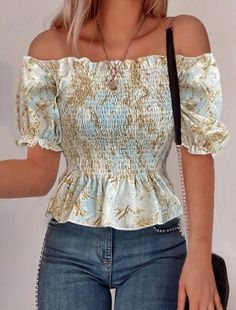 Style:Brief Pattern Type:Print Material:Polyester Neckline:Off Shoulder Sleeve Style:Short Sleeve Decoration:Ruffles Length:Regular Occasion:Casual Package Note: There might be Shoulder Sleeve, Off Shoulder Blouse, Tees, Tee Shirts, Casual T Shirts, Sleeve Styles, Ruffles, Lace, Sleeves