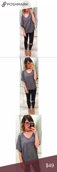 ➡LNA Gray Boxy Tee⬅ The ultimate relaxed vibes tee with a v neck that can be styled off the shoulder and wide short sleeves. LNA Tops Tees - Short Sleeve