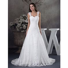 A-line+Wedding+Dress+Court+Train+Straps+Satin+/+Tulle+with+Appliques+/+Beading+–+CAD+$+236.29