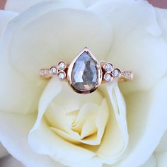 gold rose cut gray diamond teardrop bezel cluster ring *total raw gray diamond weight: *total white diamond weight: **this ring is one-of-a-kind and each gray diamond will vary slightly from ring to ring** Luna Skye Jewelry, Traditional Engagement Rings, Engagement Ring Shapes, Expensive Jewelry, Wedding Rings Vintage, Rose Gold Jewelry, Cluster Ring, Beautiful Rings, Jewelry Design
