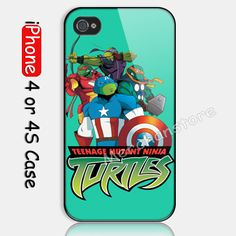 TMNT Turtles The Avengers Custom iPhone 4 4S Case Cover
