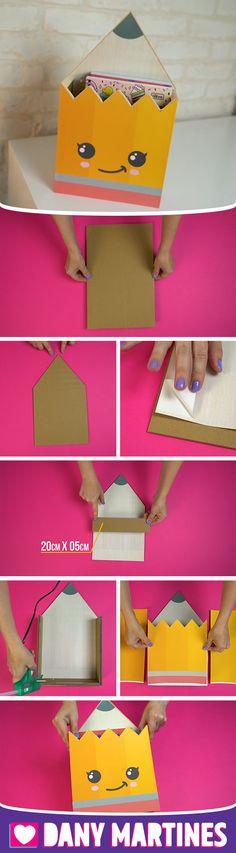 Diy Crafts For Kids Easy, Easy Paper Crafts, Paper Crafts Origami, Fun Diy Crafts, Recycled Crafts, Handmade Crafts, Pen Holder Diy, Cute Origami, Kawaii Diy