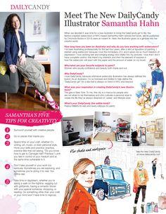Samantha Hahn's 5 tips for creativity #inspiration