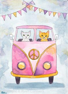 Cats Road Trip Original Watercolor On Wood Cat Folk Art Painting Watercolor On Wood, Watercolor Cards, Watercolor Paintings, Valentines Watercolor, Bus Art, Wood Cat, Cat Cards, Pretty Art, Famous Artists