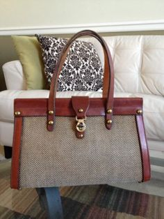 Vintage John Romain Leather and Tweed Purse