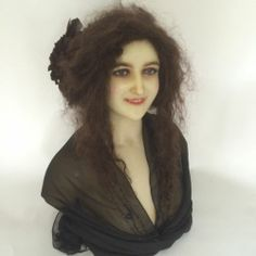 1900 Antique Wax French Mannequin Head Doll Display Bust Cire Wachs Victorian | eBay