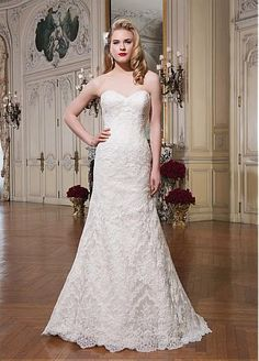 Elegant Lace Sweetheart Neckline Natural Waistline A-line Wedding Dress With Lace Appliques