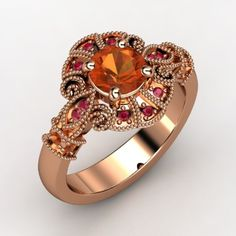 Round Fire Opal 14K Rose Gold Ring with Fire Opal.  LOVE THIS! Fire opal set in rose gold! Oh yea!