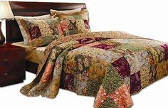 Quilts Bedspreads and Coverlets 175749: Queen Size Quilt Set Comforter Bedspread Bedding Patchwork Luxury Bed Bag Linens -> BUY IT NOW ONLY: $89.8 on eBay!