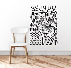 *Original illustration illustrated by Mojca Dolinar. Deer and owl enjoying nature.  *SHEET DIMENSIONS 70 x 100 cm / 27.5x 39.4 inches  *WHAT IS INCLUDED