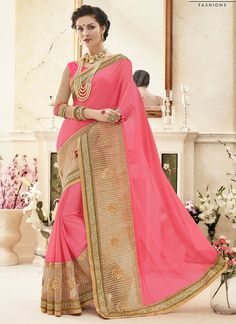 Ravishing Pink Georgette Saree