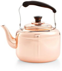 I'm an old school tea drinker and I love old -fashioned tea kettles. This stylish Martha Stewart Collection Heirloom Copper Tea Kettle is calling my name.