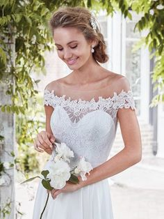 Rebecca Ingram - beatrice, This vintage-inspired Verona Chiffon sheath features an elegant lace bodice, with sheer lace comprising the illusion off-the-shoulder over sweetheart neckline and illusion open back. Finished with pearl buttons over zipper closure.