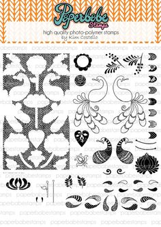 Folk Fabrique Stamp Set - Paperbabe Stamps - Clear Photopolymer Stamps - For paper crafting and scrapbooking.