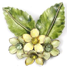 Sandor Sterling Enamel Citrine and Peridot Daisies and Leaves Pin