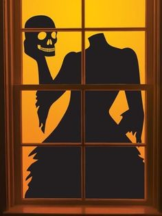 Girl holding skull head 2014 Halloween window silhouettes decoration  #2014 #Halloween
