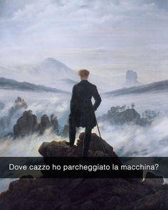 C'e un po' di nebbia mi sa eh? Viandante sul mare di nebbia - Caspar David Friedrich (1818) #seiquadripotesseroparlare