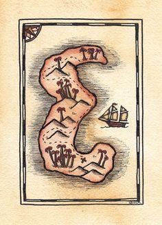 READYTOSHIP Alphabet Treasure Map / 5 x 7 Original by paintandink, $100.00  Art by Alison Murray Whittington #mapart #paintandink #treasuremap #nautical #nauticalart #initial #personalized #cartographicart #piratemap #pirateart