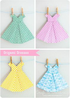 origami dress cards / name platesThis is a really cute origami Amazing DIY Origami Crafts- it's a Girl!Sweet Origami dresses Tutorial by Susan happyDid you know that origami is the Japanese art of paper folding? From one piece of paper you can mak Diy Origami, Origami Dress, Origami Paper, Diy Paper, Paper Crafts, Oragami, Origami Tutorial, Origami Swan, Origami Hearts