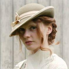 531df9cfe5d Women Tilt Hat Vintage Style in Sage and Cream Felt