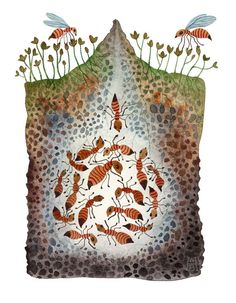 I love this  Ant Colony Ant Hill original watercolor painting. $175.00, via Etsy.